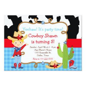 Blonde Cowboy Western Birthday Party Invitations