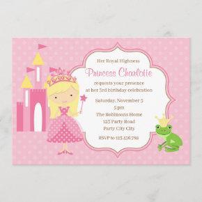 Blonde Princess Birthday Invitation Pink Polka Dot