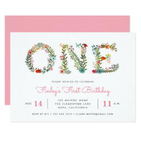 Blossoming One | First Birthday Party Invitations