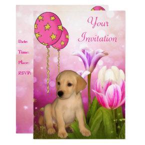 Blossoms Balloons & Labrador Puppy Event Invitation