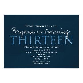 Blue 13TH 13 Birthday Party Invitation