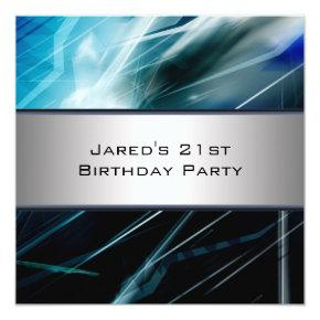 Blue Abstract Mans 21st Birthday Party Invitation
