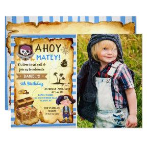 Blue Ahoy Treasure Map Boys Pirate Photo Birthday Invitation