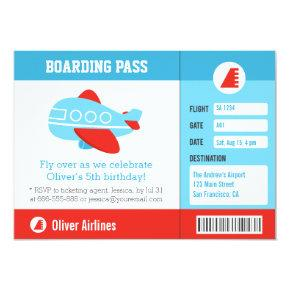 Blue Airplane Boarding Pass Birthday Party Invitation