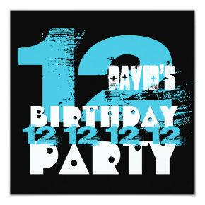 Blue and black 11th birthday party 12 year old v08 invitations blue and black 11th birthday party 12 year old v08 invitations candied clouds filmwisefo
