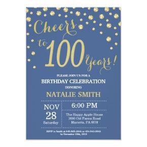 Blue and Gold 100th Birthday Diamond Invitation