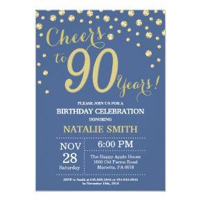 Blue and Gold 90th Birthday Diamond Invitation