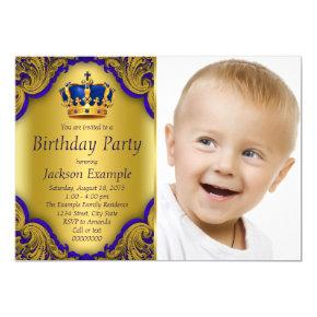 Blue and Gold Prince Birthday Party Invitation