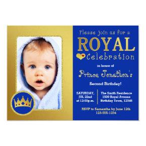 Blue and Gold Royal Prince Birthday Party Photo Card