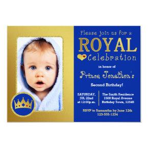 Blue and Gold Royal Prince Birthday Party Photo Invitations