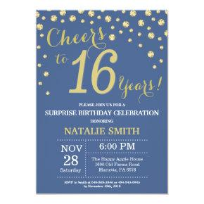 Blue And Gold Surprise 16th Birthday Diamond Invitation