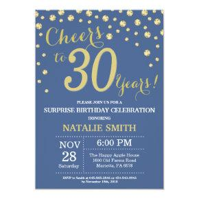 Blue and Gold Surprise 30th Birthday Diamond Invitation