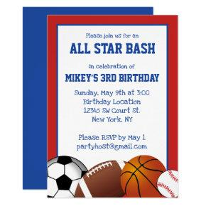 Blue and Red All Star Sports Birthday Invitation