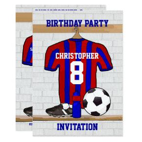 Blue and Red Football Soccer Jersey Birthday Party Invitation