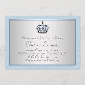 Blue and Silver Prince Baby Shower Invitation