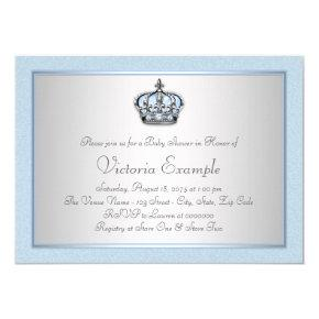 Blue and Silver Prince Baby Shower Invitations