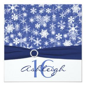 Blue and White Snowflake Birthday Invitations