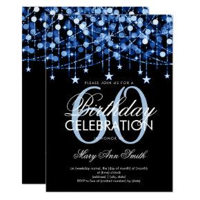Blue Any Age Birthday String Lights & Stars Invitation