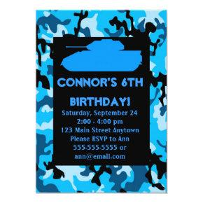 Blue Army Camouflage Birthday Party Invitations