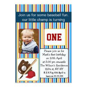 blue baseball first birthday photo Invitations