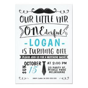 Blue Black Mr ONE-derful Birthday Invitation