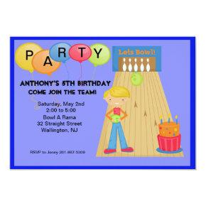 Blue,Bowling Birthday Party Invitation