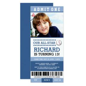 Blue Boy Baseball Ticket Birthday Invites
