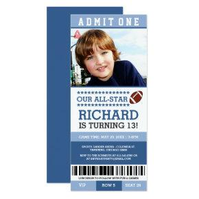 Blue Boy Football Ticket Birthday Invites