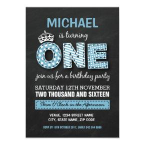 Blue Boys First Birthday Party Invitation