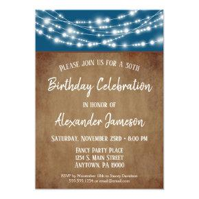 Blue Brown Lights Birthday Party Invitation Adult