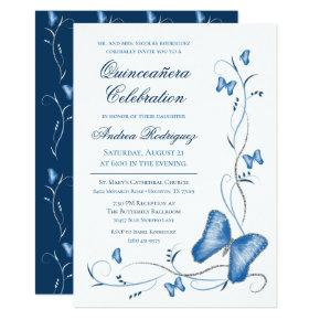 Blue Butterflies & Swirls Quinceanera Invitation