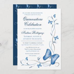Blue Butterflies & Swirls Quinceanera Invitation