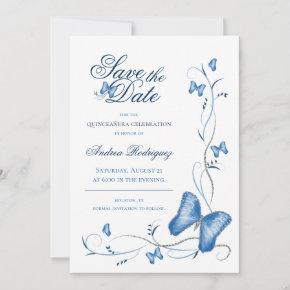 Blue Butterflies & Swirls Save the Date