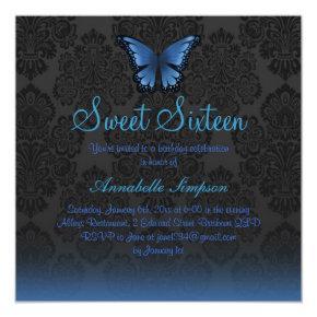 Blue Butterfly & Damask Sweet16 Invite
