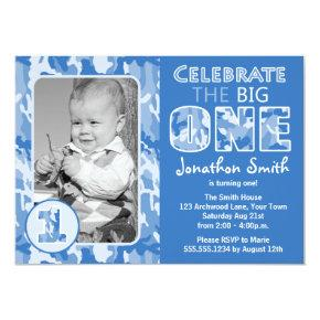 Blue Camouflage / Camo Photo First Birthday Party Invitation