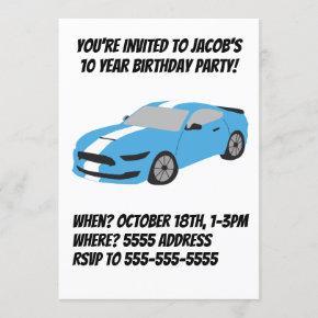 Blue car boys/men birthday
