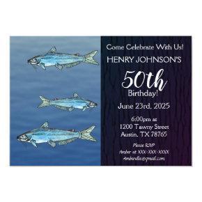 Blue Catfish Fishing Themed Birthday Invitation
