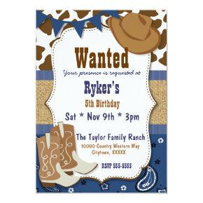 Blue Cowboy Country Western Party Card