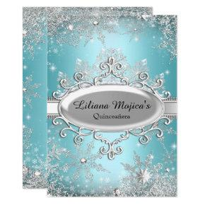 Blue Crystal Snowflake Princess Quinceanera Invitations