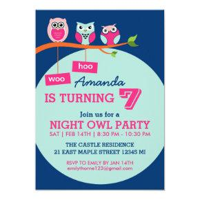 Blue Cute Owl Polka Dots Birthday Invitations