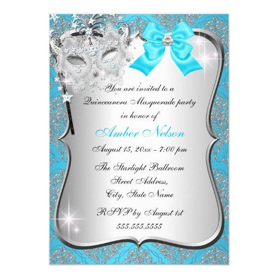 Blue Damask Mask Quinceanera Masquerade Invite Candied Clouds