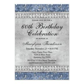 Blue Diamonds Birthday Invitation Velvet Silver