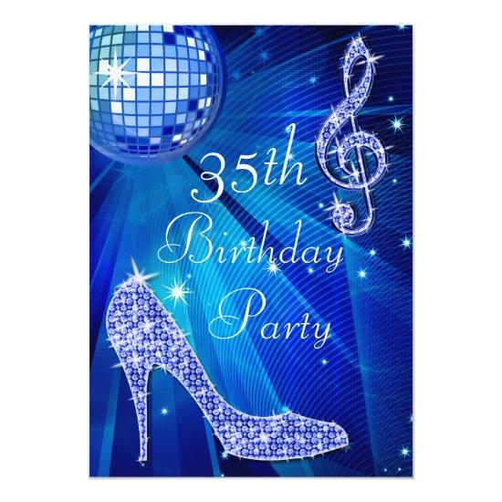 Blue Disco Ball And Heels 35th Birthday Invitations