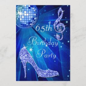 Blue Disco Ball and Heels 65th Birthday Invitation