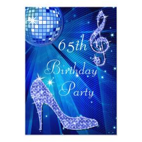 Blue Disco Ball and Heels 65th Birthday Invitations
