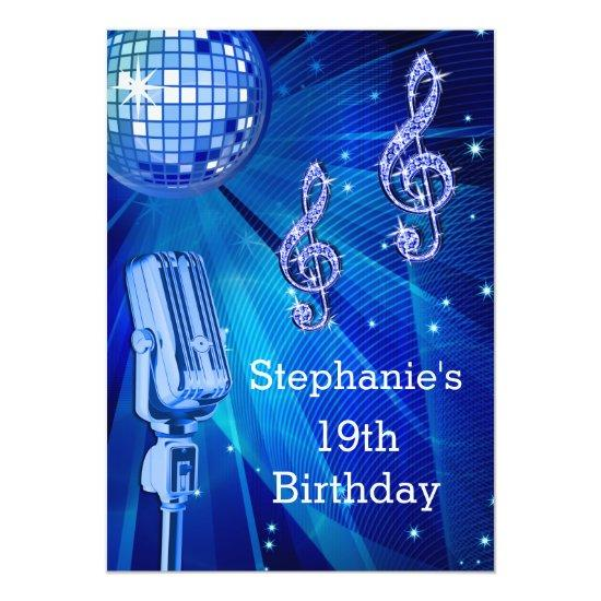 Blue Disco Ball And Retro Microphone 19th Birthday Card Candied Clouds