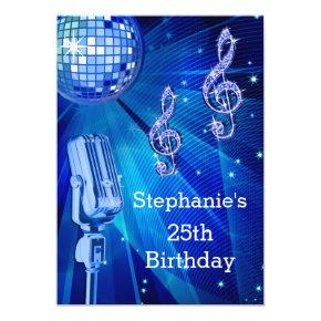 Blue Disco Ball and Retro Microphone 25th Birthday Invitation
