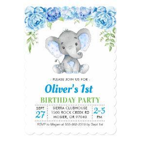 Blue Elephant Boy 1st First 2nd Birthday Party Invitation