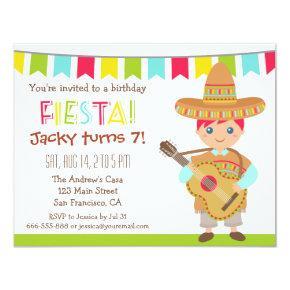 Blue Eye Boy Mexican Fiesta Kids Birthday Party Card