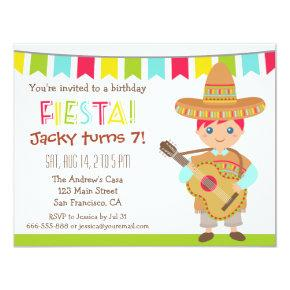 Blue Eye Boy Mexican Fiesta Kids Birthday Party Invitation